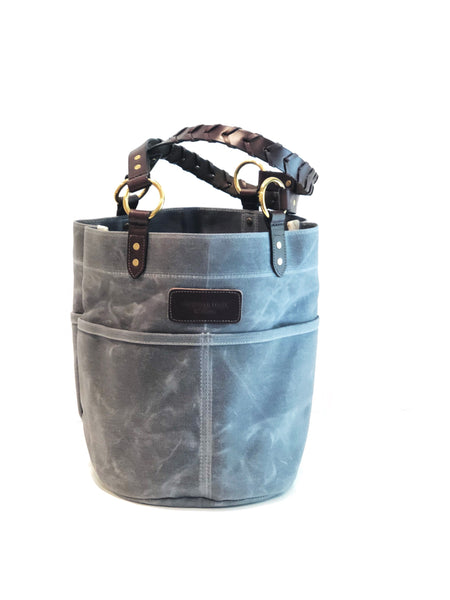 Belle - Waxed Filter Twill Feed Bucket Tote with laced straps - Slate