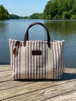 Hatteras - ECO Friendly Woven Cotton Tote - Taupe Stripe