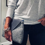 Clutch - Waxed cotton and wool - Gray