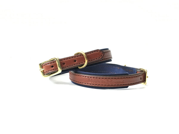 Dog collar - Oak bark/Navy