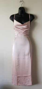 Satin Cowl Neck Tie Back Midi Dress