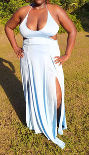 Blue icicle halter dress