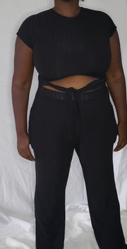 Rib Tie Top Pant Set