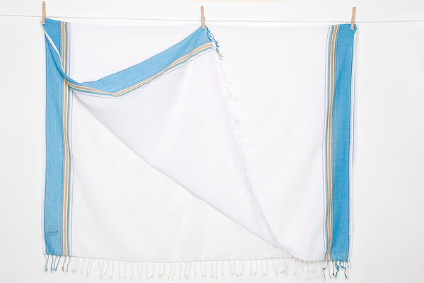 White/Blue Beach Wrap