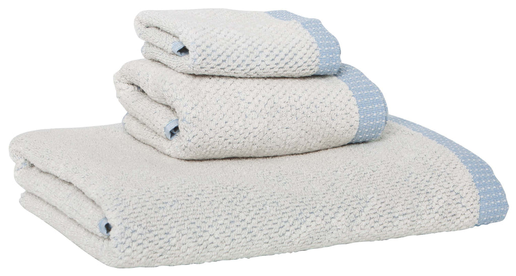 Linen Cotton Towels, set of 3, Light Blue