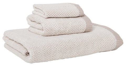 Linen Cotton Towels, set of 3, Taupe