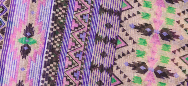 LAVENDER AZTEC LIGHT WEIGHT COTTON VOILE SCARF