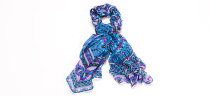 TURQUOISE AZTEC LIGHT WEIGHT COTTON VOILE SCARF
