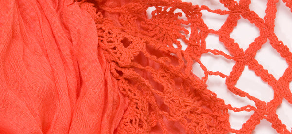 CORAL-CROCHET LIGHT WEIGHT COTTON VOILE SCARF