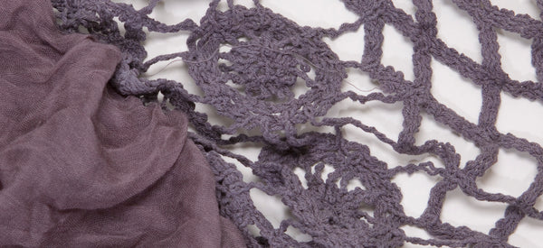 GREY-CROCHET LIGHT WEIGHT COTTON VOILE SCARF