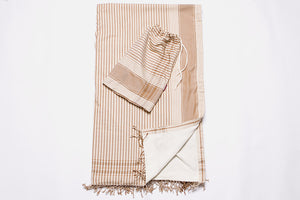 Beige Striped Beach Towel - 2 piece set
