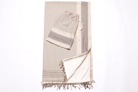 Grey Striped Beach Towel - 2 piece set