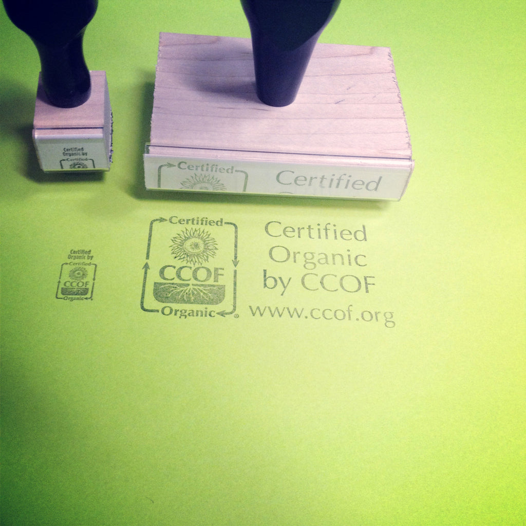"""Certified Organic by CCOF"" Stamps - available in 2 sizes"