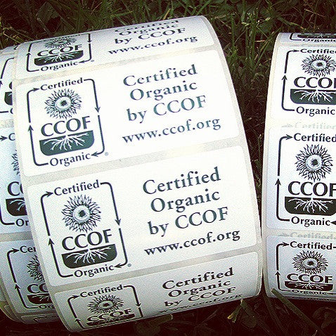 "Rectangle ""Certified Organic by CCOF"" Labels"