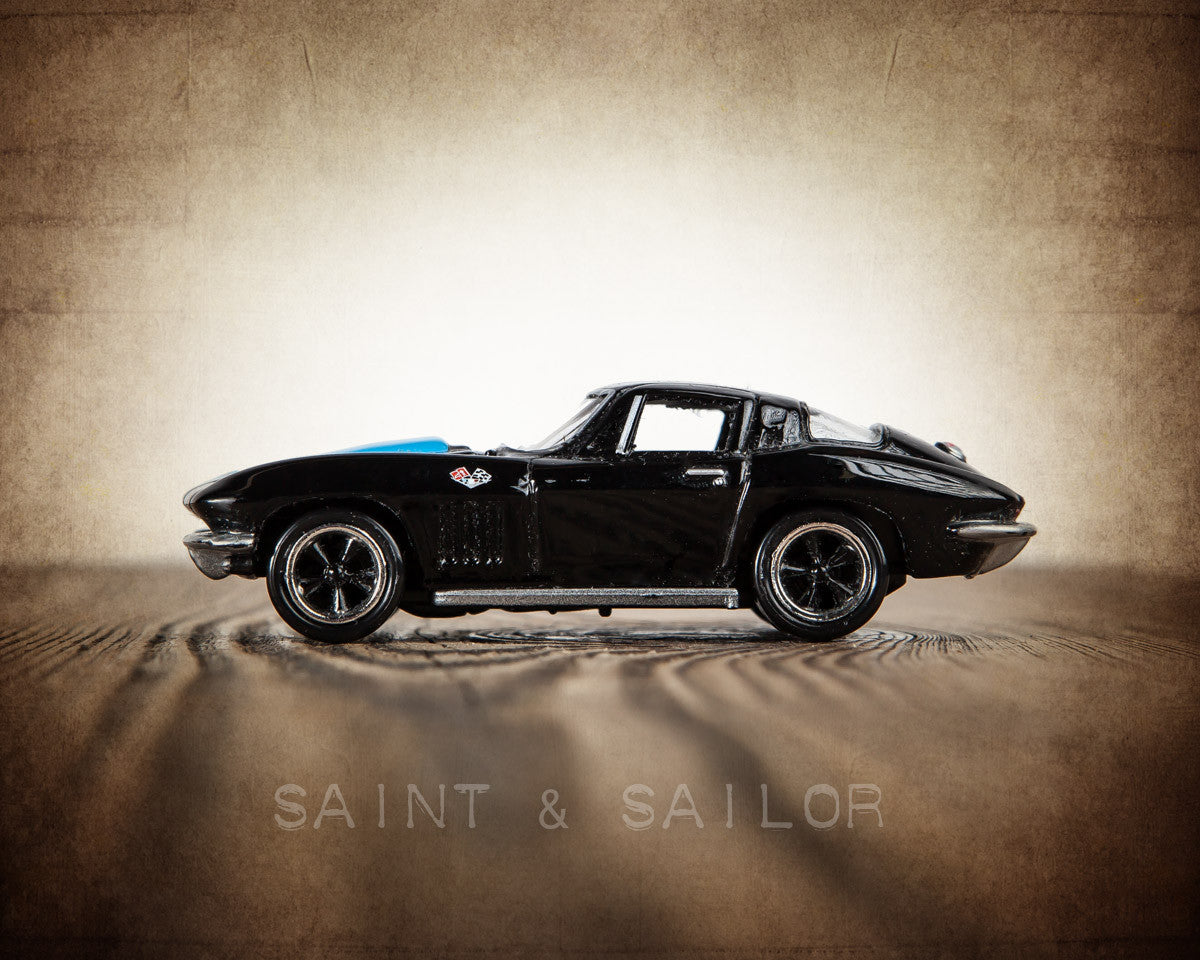 Vintage Muscle Car Black 65 Corvette Saint Sailor Studios