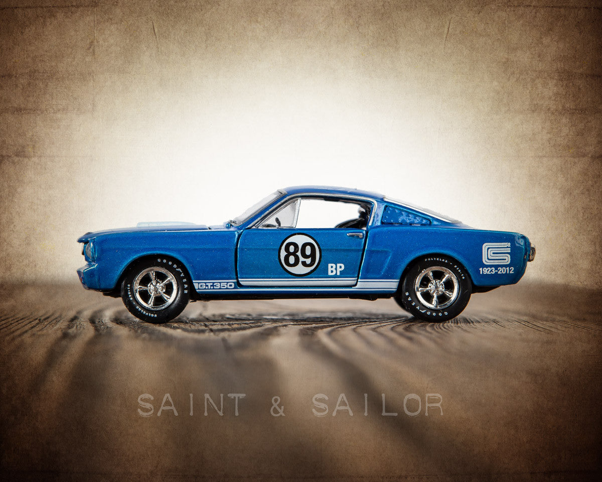 Vintage muscle car blue 65 shelby mustang gt fastback