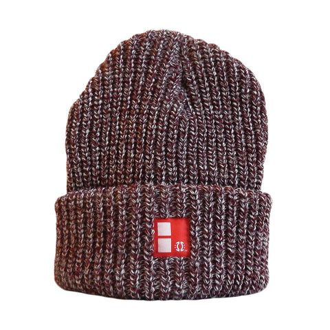 Boundary Stamp Marl Beanie in Burgundy