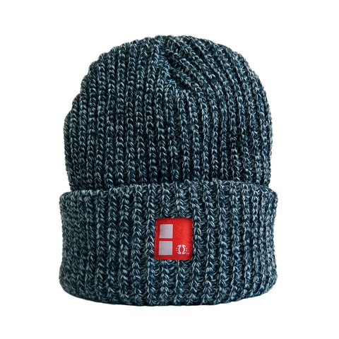Boundary Stamp Marl Beanie in Navy