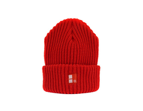 Boundary Stamp Beanie in Red