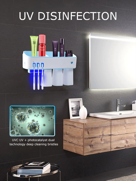 Toothbrush sterilizer and Holder with LED UV Light Sterilization Function, Wireless Design, Wall Mounted Automatic Toothpaste Dispenser ATH-100