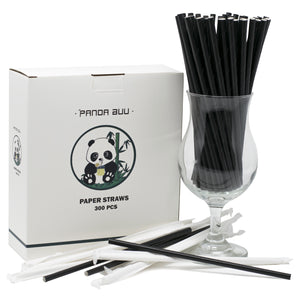 Black Paper Straws Unwrapped and Individually Wrapped