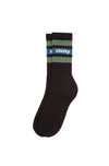 Stripe Crew Socks Black