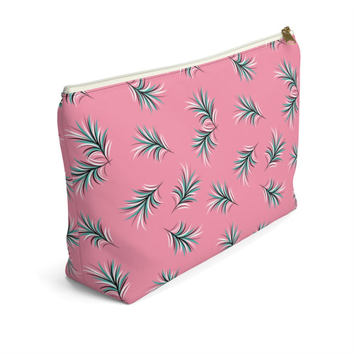 Flat Bottom Cosmetic Bag - Novelty Pink Feather Print - Heebie Jeebies Clothing