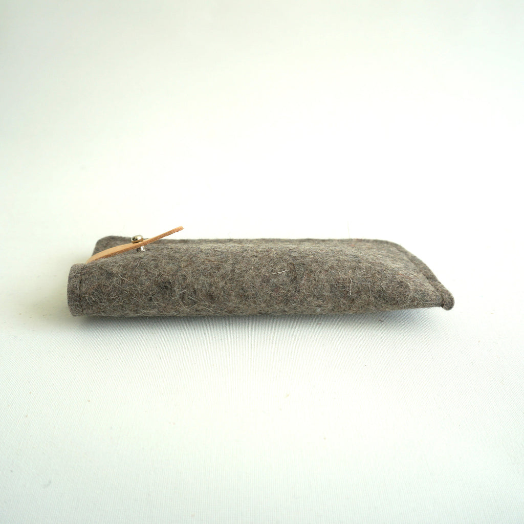 natural, spectacle, case, wool, felt, vilt, wol, leather, brillenetui, rowold