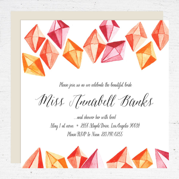 gem bridal shower invitation