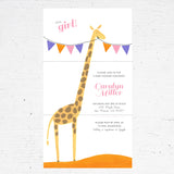 giraffe baby girl bridal shower invitation