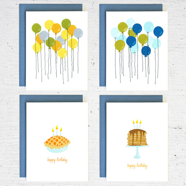 birthday balloons - 8 card set