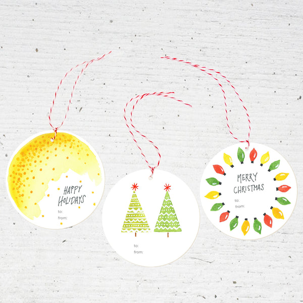 holiday gift tags - set of 6