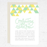 mint + yellow wedding invitation