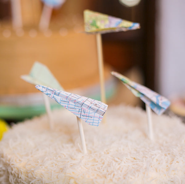 paper airplane cake toppers - set of 5