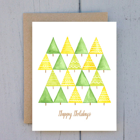 yellow + green forest card
