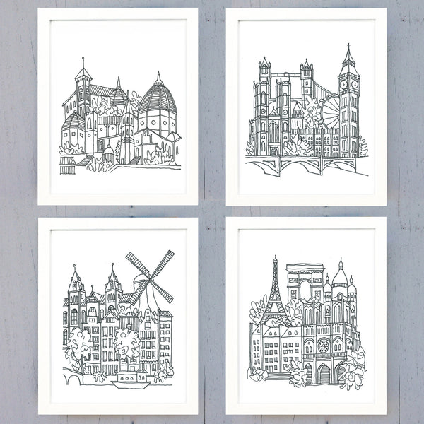 "europe sketches 8"" x 10"" prints - set of 4"