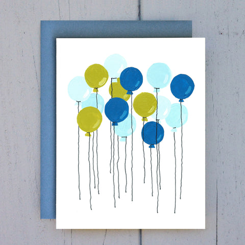 blue balloons card
