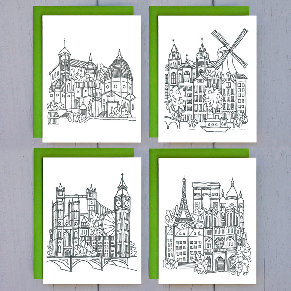 europe sketches - 8 card set