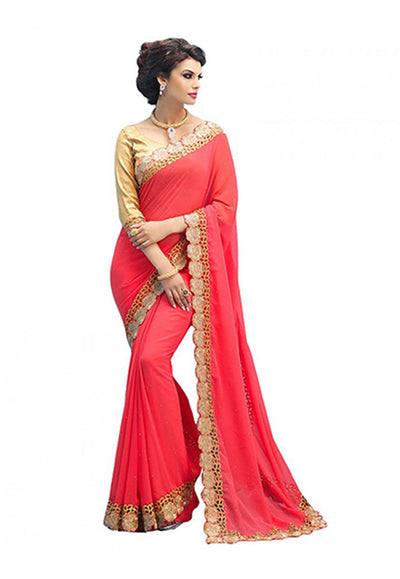 Embroidered Bordered Georgette Saree in Peach and Gold