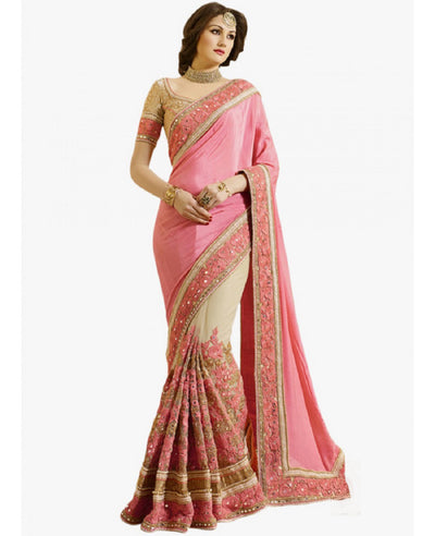 Embroidered Chinon Saree with Net Skirt in Pink and Beige