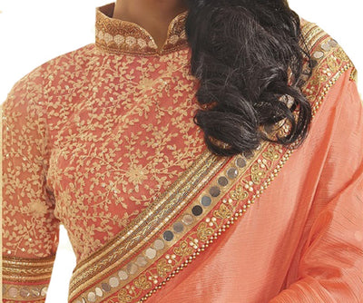 Embroidered Georgette Saree in Peach and Gold