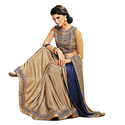 Embroidered Chinon Saree in Navy Blue and Gold