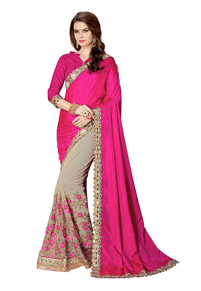 Embroidered Chinon Saree with Net Skirt in Pink and Gold