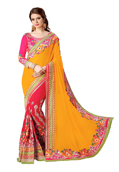 Embroidered Georgette Saree in Orange and Pink