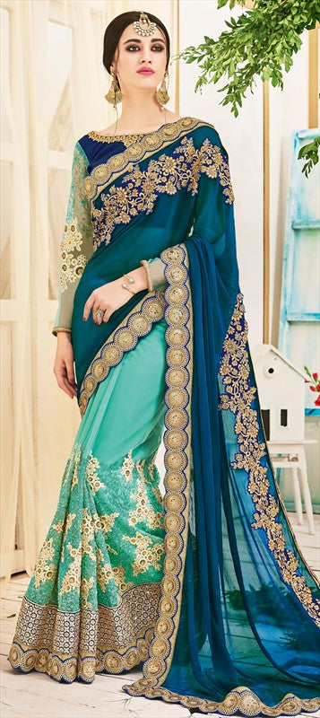 Embroidered Georgette Saree in Teal Green and Ocean Blue