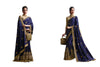 Embroidered Pandora Silk Saree in Navy Blue