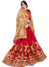 Embroidered Chinon Saree with Georgette Skirt in Red and Beige