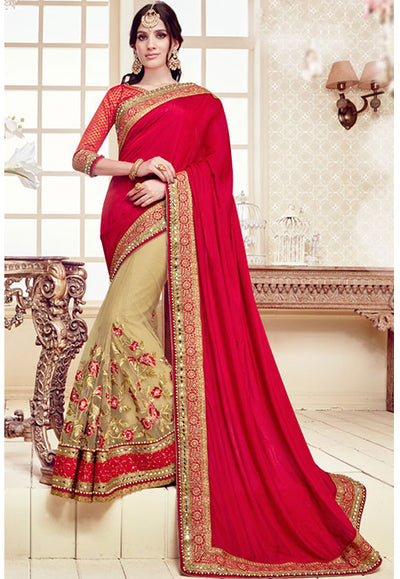 Embroidered Georgette Saree with Net Skirt in Red and Gold