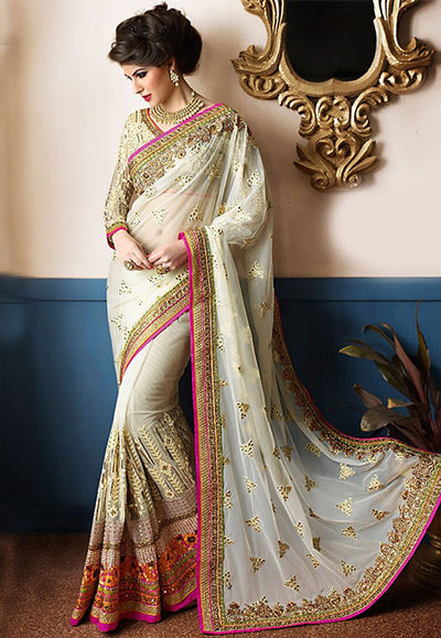 Embroidered Net Saree with Georgette Skirt in Off-White