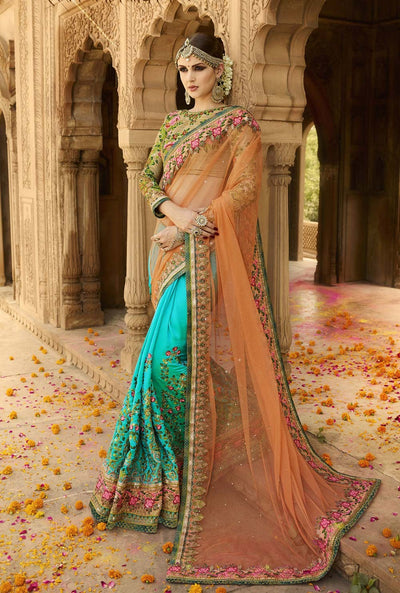 Embroidered Net Saree with Georgette Skirt in Teal Green and Orange